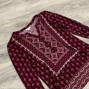 Women's Style & Co Maroon Blouse with Designs